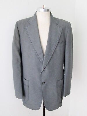 Vtg 70s SUPERFLY Steel Gray Poly Knit Disco Pimp Blazer Jacket Black Stitch 44