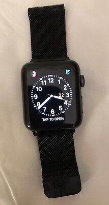 Apple Watch Series 3 42mm Space Gray Aluminum Case with Black Band with Charger