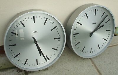 2-Off Aei  Large 19 Inch Diam Electric Slave Clocks For Operation Off A Master