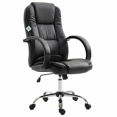 Executive High Back Office Chair Ergonomic PU Leather Seat 360° Swivel