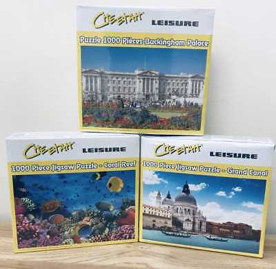 3 x 1000 Piece Jigsaw Puzzles - Buckingham Palace/Coral Reef/Grand Canal