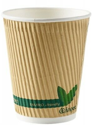 12oz Biodegradable/Compostable Kraft Ripple Cups With or Without Lids ECOCUPS
