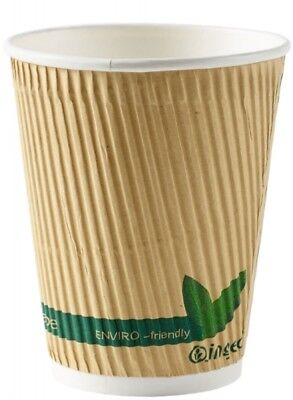 * 12oz Biodegradable/Compostable Kraft Ripple Cups With or Without Lids ECOCUPS
