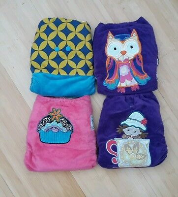 4 Earfts embroidered applique nappies with bamboo snap boosters