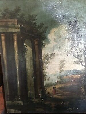 Antique 18th 19th Century Italian Oil On Canvas Landscape Painting