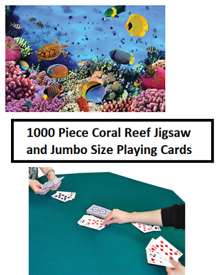 1000 Piece Coral Reef Jigsaw Puzzle and Jumbo Size Playing Cards Deck Set Gift