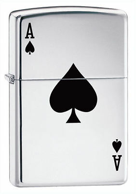 "Zippo ""Ace of Spades"" High Polish Chrome Finish Lighter, Full Size, 24011"