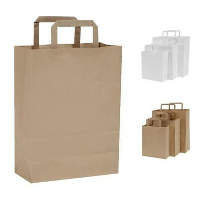 Pack of 25 Flat Handle Kraft Paper Bags