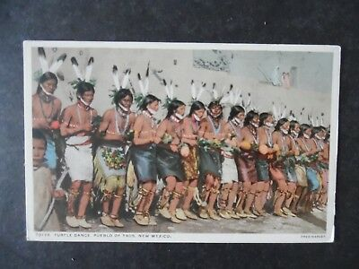 Taos New Mexico Pueblo Indian Turtle Dance Fred Harvey Postcard 79718
