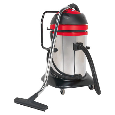 Sealey PC85 Vacuum Cleaner Industrial Wet & Dry Twin Motor 75ltr Stainless Dr...