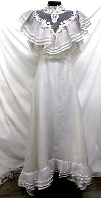 Vintage Women's Ivory High Neck Embroidery Sheath Wedding Dress,size 8