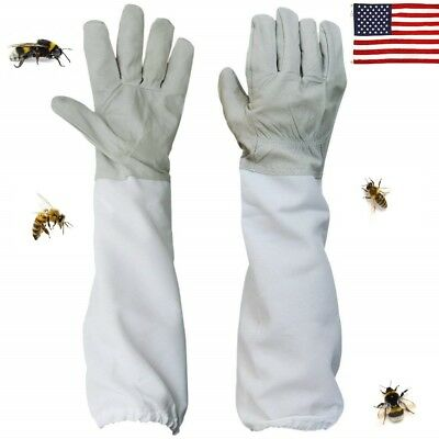 US 2Pcs Useful Gloves Sleeves Protection Ventilated Long Professional Anti Bee