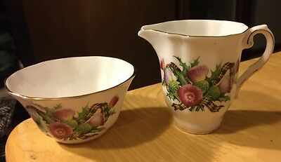 Scottish Thistle Royal Grafton Creamer & Sugar