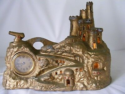 Vintage Art Deco Spelter Fortress with Cannon TV Light 1929