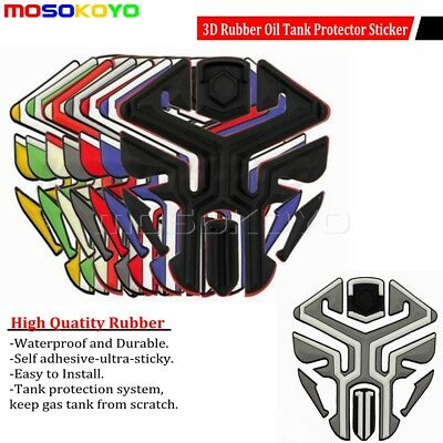 3D Rubber Motorcycle Oil Fuel Tank Pad Protector Ultra-Sticky Sticker Universal