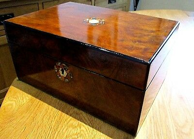 Victorian Burr Walnut Sewing/jewellery Box,m.o.p.abalone,lovely Purple Interior.