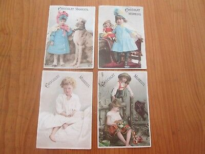 4 x Rare 19th Century French Trade / Advertisement Cards Moreuil Chocolate Paris