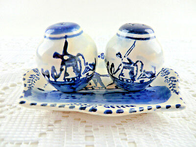 Vintage HOLLAND Blue Delft Windmill 3 PC Tray Salt & Pepper Shakers Hand Painted