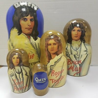 QUEEN Freddie Mercury RUSSIAN DOLL SET HAND PAINTED COLLECTABLE