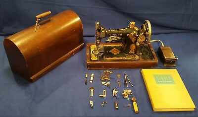 1916 Singer B.u.7-C Sewing Machine With Case/extras - Free Shipping