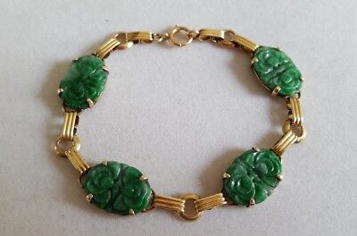 Vintage 14k Yellow Gold Chinese Carved Pierced Green Jade Bracelet