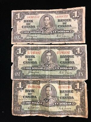 Lot of 3 1937 Bank Of Canda One Dollar