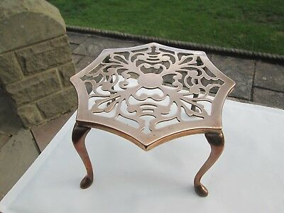 "Antique Trivet Brass/copper Open Work Top Signed J E S Stands 7.5""high/ Wt 595G"