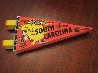 "CRISP VINTAGE 1970's ORIGINAL ""SOUTH CAROLINA "" CLOTH PENNANT- 7 INCHES LONG NEW"