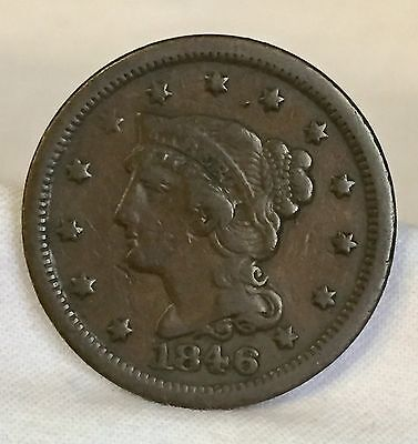 1846 U.s. Braided Hair Lg Cent Fully Re-Cut Date In Each Numeral Nice Coin !!