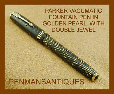 Circa 1937 Parker Vacumatic Fountain Pen In Golden Pearl With Double Jewel