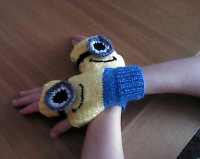 Minion Despicable Me Inspired Hand Knitted Boys Girls Finger less Gloves 5-8 Yrs
