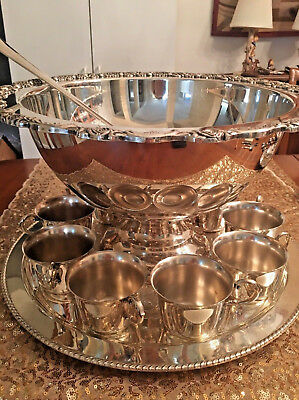 Vintage Silver Plated Bowl Punch Bowl Set 12 Pieces Bowl Oneida Ladle Cups Tray