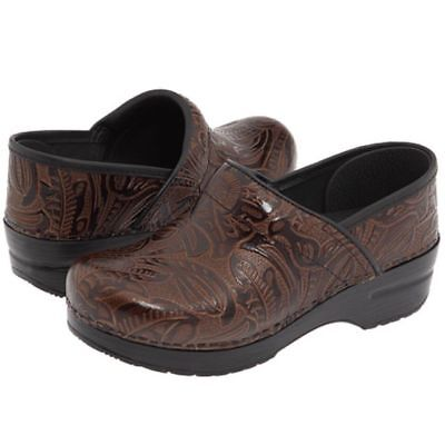 Dansko Professional Clog Brown Tooled Leather