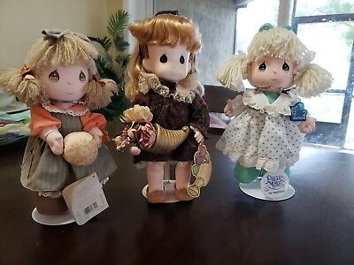 Lot of 3 Precious Moments Collectible Dolls Excellent Condition *W/Stands & Tags