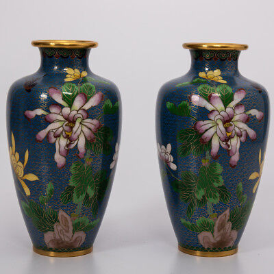 A Pair of Vintage Chinese Light Blue Enamel Cloisonne Vases