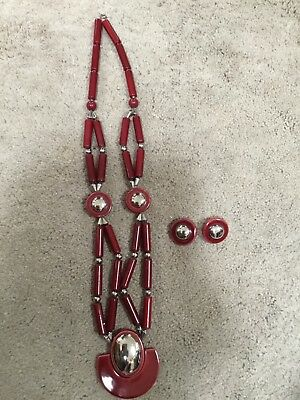 Vintage Signed JAPAN Red silver Cermic Tile bead Necklace & earrings