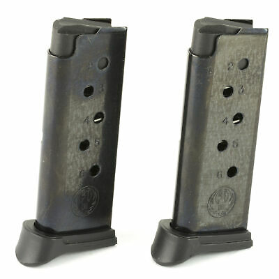Ruger Magazine 380Acp 6 Round Fits LCP w/ Finger Rest Blue 2 Pack 90643