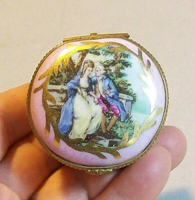 Old Sevres Porcelain Trinket Box, Man & Woman on Lid, Flower Design Inside