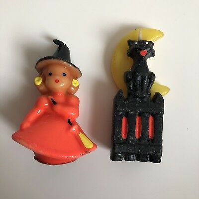 2 Vintage Halloween GURLEY Candles Witch Black Cat Haunted House