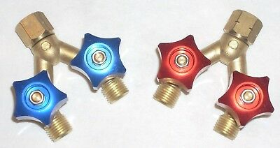"Oxygen Acetylene or LP Y Valve Set Brass B Sized Fittings for 1/4"" Hose w Valves"