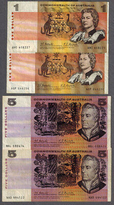 Commonwealth of Australia 1967 Coombs/Randall $1 & $5 Banknotes R72 & R202