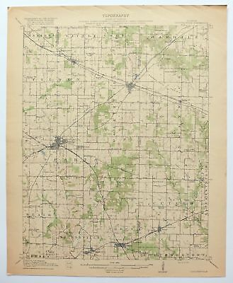 1917 Coulterville Illinois Sparta Antique 15-minute USGS Topographic Topo Map