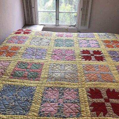 Vintage 1950s Bear Paw Quilt Bright & Colorful 74 X 64