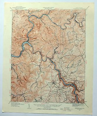Topographic Map West Virginia.1928 Fayetteville West Virginia Oak Hill Vintage Usgs Topographic