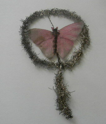 Antique Victorian Tinsel Scrap Christmas Ornament -  Rare  Butterfly
