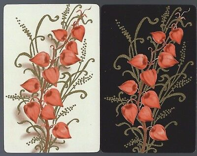 Vintage Playing Swap Cards   x2 Black & White Backgrounds with gold