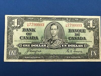 1937 Bank of Canada $1 Canadian Dollar Coyne/Towers Crisp!