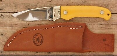 """Moore Maker Knife #3100U Drop Point Hunter; 7"""" Yellow Delrin Scales, NEW & Nice!"""