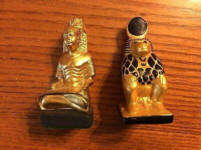 Lot Of 2 Ancient Egyptian Reproductions Baboon And Scribe With Baboon Goldtone