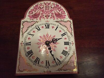 Vintage ARTA enamelled clock face hand-made in Austria. Pink/gold peacocks